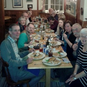 Members enjoy a New Year meal together